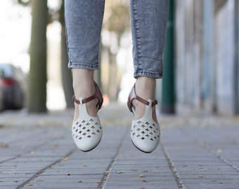 White Leather Sandals, Leather Flats, White Cutout leather Sandals, Summer Shoes , Free Shipping