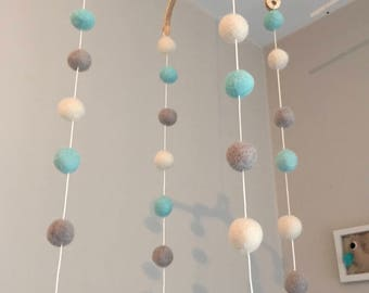 Turquoise blue taupe and ecru felt owls and stars baby mobile