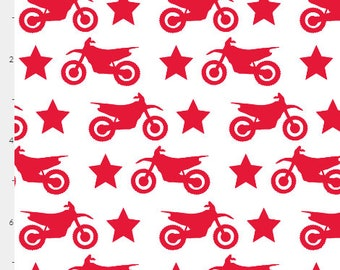 Motocross Dirt Bike and Star Red on White- Swaddle/Receiving blanket - Organic Cotton