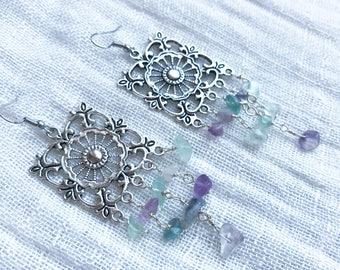 Fluorite Earrings - Fluorite Jewelry - Dangle Earrings - Filigree Earrings - Statement Earrings - Tribal Earrings - Square Earrings
