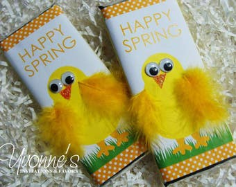 Teacher easter gift etsy easter chocolate bar favor w yellow chick feathers for easter baskets easter favors negle Gallery
