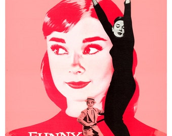 "Audrey Hepburn - Funny Face - Movie Musical Poster Print - 13""x19"" or 24""x36"" - Home theater Media Room decor - Fred Astaire - Dance poster"