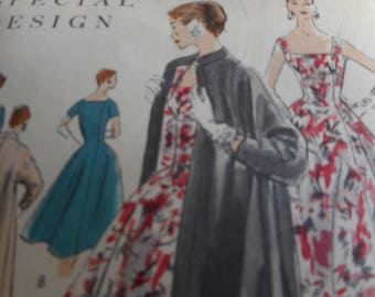 Vintage 1950's Vogue 4663 Special Design Dress and Coat Sewing Pattern Size 12 Bust 30