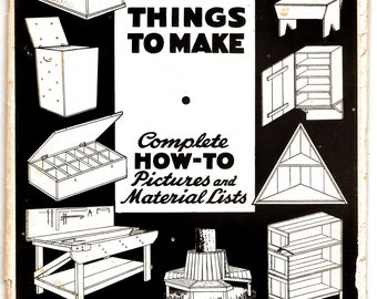 "RARE Mid-Century ""Things to Make"" Book on Woodwork & Furniture Making 1952 by U.S. Dept. of Commerce Complete How-To Pictures and Materials"