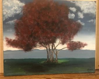 Acrylic Red Tree