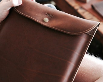"""Personalized Fine Leather Sleeve Case for Apple Macbook 12"""" & Macbook Air 11"""" - Fathers Day Gift -"""