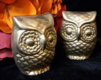 BRASS OWLS set of two
