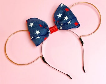 Patriotic Denim Bow Wire Mouse Ears Heandband