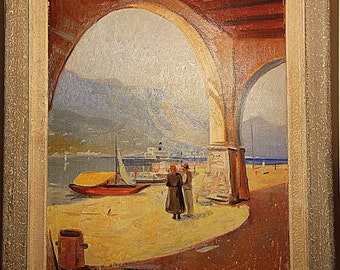 Lovely painting of an Italian landscape at the Lago Maggiore