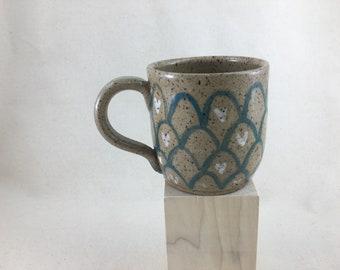 Mermaid Mug / Ceramic Mug or Tea Cup / Hand-painted / Teal and White Mermaid / Wheel Thrown Mug - READY TO SHIP