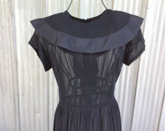 1940s Vintage Dress - Elegant Black Chiffon Dress - Post War Style - Vintage 1940's Fan