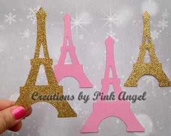 12 Count Paris Cutouts, Eiffel Tower Die Cuts, Paris Paper Cut Outs, Eiffel Tower Punches, Paris Party Decorations