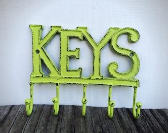 Entryway Key Hooks / Entryway Wall Hooks / Lime Green Chartreuse Key Rack Organizer / Key Wall Hanger / Rustic Key Hook / Entryway Organizer