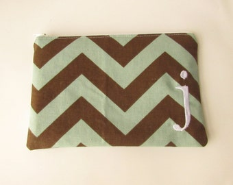 Monogram Make up Bag - J pouch - Ready to Ship - Stocking Stuffer - Cosmetic bag - Make up Clutch - Monogrammed Gift - Medium