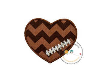 Chevron football heart- iron embroidered fabric applique patch embellishment- ready to ship