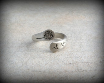Dandelion ring, Twisted dandelion ring, Stamped jewelry
