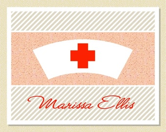Stylish Note Cards For Nurses - Personalized (10 Folded)