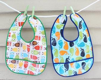 Laminated Cotton Baby/Toddler Bib - BPA-free