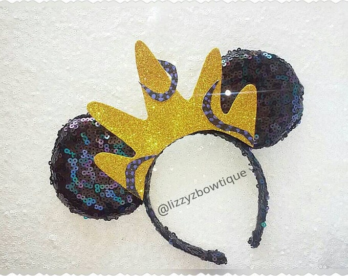 Little Mermaid Ursula sequin Minnie ears with crown
