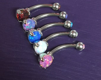 Prong Set Fire Opal Navel Ring Belly Bar - UK Seller