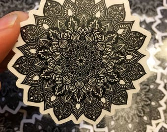 Black Mandala Transparent Laptop Sticker Waterproof Decal Mandalas Vinyl