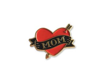 Mom Tattoo Enamel Pin – Lapel, Soft Enamel, Mothers Day Gift, Mother, Heart