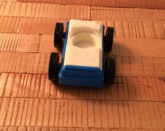 Vintage Fisher Price White and Blue Car