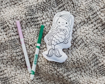 Mermaid Coloring Activitiy-Color Your Own Doll-Mermaid Birthday Party Gift-Rainy Day Activities-Quite Toys-Gifts for Kids-Party Favors