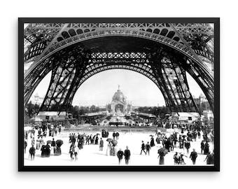 Eiffel Tower Print Framed Poster. Vintage Eiffel Tower Photo Wall Decor. Black & White W/ Alder Frame.