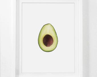 Avocado Art Print, Framed Fruit Art, Kitchen Wall Art, Framed Food Art, Avocado Wall Art, Kitchen Decor, Kitchen Art Print with Frame