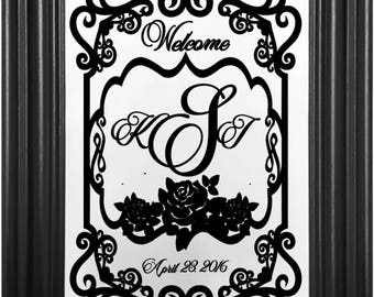 Custom Vinyl Welcome Sign Decal - Custom Date & Monogram - Wedding Sign - DIY Sign - Many Sizes - Bride and Groom - Custom DIY Sign