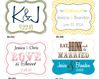 120 - 2 x 1.625 inch Die Cut Custom Glossy Waterproof Wedding Stickers Labels - hundreds designs - change designs any color or wording