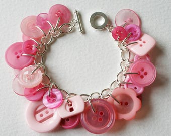 Button Charm Bracelet Cotton Candy Pink Mix