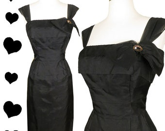 Vintage 50s Dress / 50s Black Dress / 50s Party Dress / Rockabilly Pinup Sheath Tiers Organza Column Wiggle XS S Extra Small Cocktail Dance