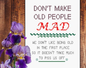 Old People  - counted cross stitch graph - downloadable chart