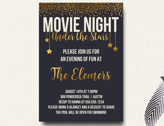 Movie Under the Stars Invitation Movie Night Outdoor Movie