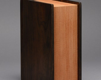 Stash Box / Wood Book / Keepsake Box / Small Cremation Urn