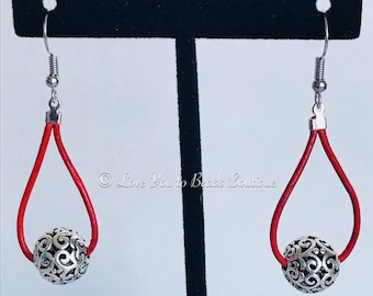 Silver bead and leather earrings