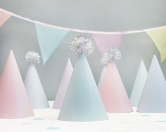 8 x Pastel Party Hats With Optional Silver Or Gold Pom Poms For Baby Shower First Birthday Party Hen Do