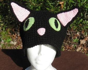 Crochet Hat Black Cat