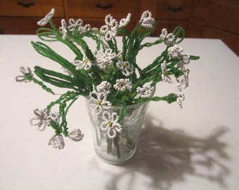 Vintage Lot of 8 Glass Beaded Flowers White and Green Floral Sprays