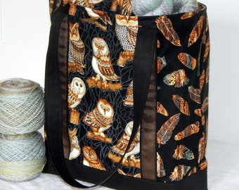 Large zippered tote bag, zippered interior pocket, fully lined, extra long straps, Owls