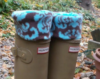 Boot socks, Boot Cuff, Fleee Rain Boot Liners, Socks, Damask Turquoise Cuff,W/ Turquoise Sock,  British Wellie Socks, Size Med/Lrg 9-11