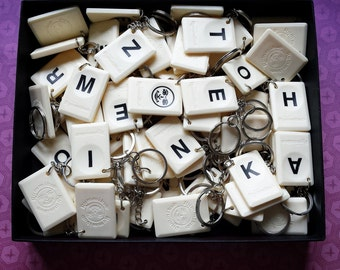 Bulk Rummikub tile initial letter keychains 10 pieces or more - wedding give away, birthday present bulk gifts