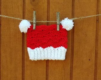 Red and White Crochet Hat with PomPoms 0-3 months Picture Prop Photo
