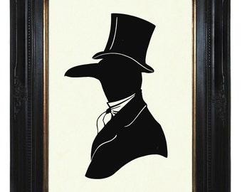 Silhouette Raven Art Print Crow Gentleman Victorian Steampunk - Art Print Portrait Paper Cut Halloween