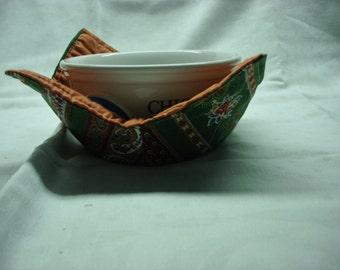 Microwave Bowl Cozy - Green Print