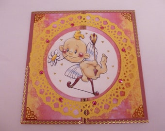 """2018166 3d """"funny little Cupid"""" Valentine card"""