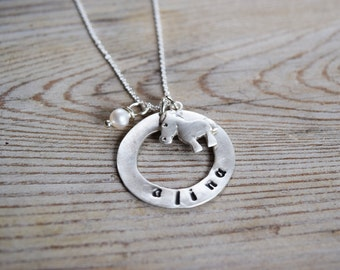 Personalized Horse Necklace with custom round hoop, birthstone, Handstamped Horse Riding gift, Rodeo, Horse Love, Horseback, Sterling Silver