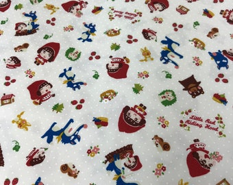 """Seven Island Inc. - TOKF-08-OW 100%C Oxford - Little RED Riding Hood Fabric by Shinzi Katoh from Kiyohara 43""""wide .Cream background"""